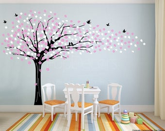 Baby Nursery Flower Tree Wall Decal Floral Tree Wall Murall -  Sakura Tree (85inch H) - Flying Flowers Tree Sticker Girls Baby Kids Room Art