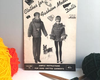 "Clothes for Fashion Model Dolls - styled by Hilde - 1963 knitting booklet for 11.5"" and 12"" fashion dolls"
