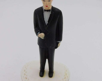 1960's Vintage Old Store Stock  Tiny Groom or Best Man  Tux Wedding Cake Topper