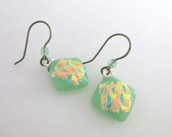 Mint Green Golden Fire Sensitive Ears Hypoallergenic Earrings Titanium Earwires Dichroic Dangle Fused Art Glass