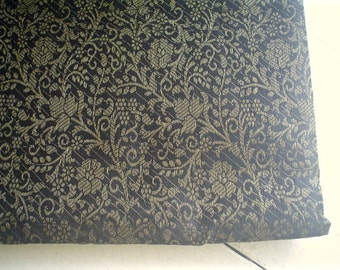 Black Silk Brocade Fabric with Gold Floral Woven Design by the Half Yard