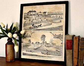 Antique Atlas Page | Framed Wall Decor | Antique Art | Union County, Ohio Atlas, circa 1890