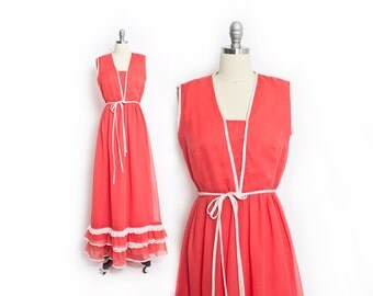 Vintage 70s Dress - MISS ELLIETTE Coral Cotton Maxi Sleeveless Lace 1970s - Small