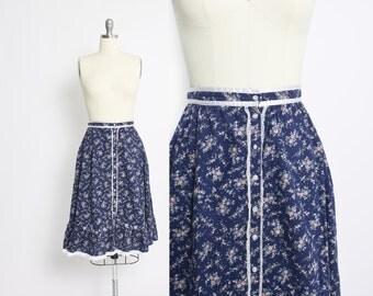 Vintage 1970s Gunne Sax Skirt - Blue Floral Cotton Peasant Boho Hippie Skirt 70s - Small