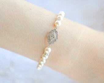 Bridal Bracelet, Swarovski Pearl Wedding Bracelet, Crystal Bracelet, Vintage Style Filigree Bracelet Cuff, Wedding Bridal Jewelry, TRISSIE