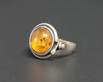 Amber Sterling Silver Ring Orange Baltic Amber Size 5