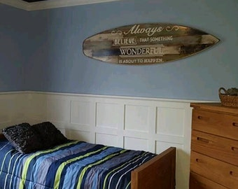 "Faux Pallet Wood Surfboard Wall Hanger Headboard 62 Inches Long x 18 Inches Wide 1 1/2"" Thick"