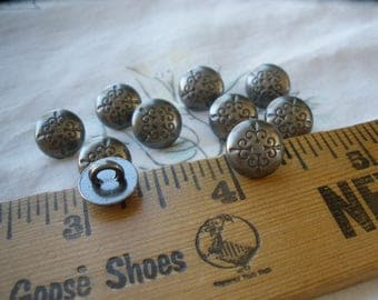 "Tiny Fleur De Lis Buttons Pewter color 16L (3/8"" 9.5 MM) dark gray stamped design sewing craft metal dome shank paper tag supply steampunk"