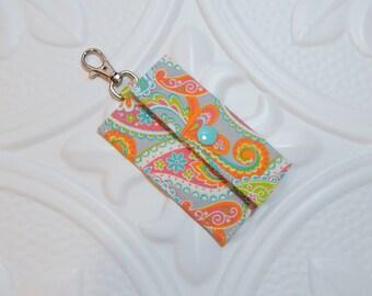Lip Balm Holder - Chapstick Cozy - Lip Balm Cozy - Chapstick Keychain Holder - USB Holder - Orange Paisley