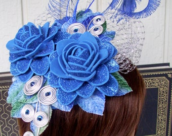 Fascinator (F709) Blue Colors,  Mini Hat, Handmade Foam Rosettes, Ascot or Kentucky Derby, Weddings, Cosplay