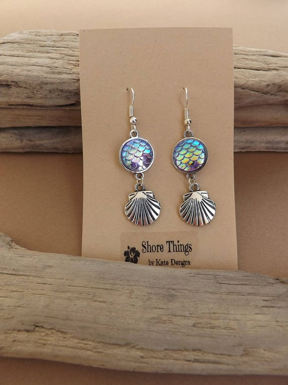 Iridescent Purple Mermaid Scale Shell Dangle Earrings Ear Wire Fish Scale Shore Things by Kate Dengra Spain Beach Ocean Theme