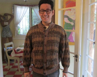 Vintage Men's Wool Cardigan France Size Medium Large / La Squadra Checkered Sweater