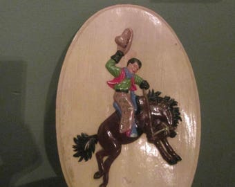 Vintage 1940s Roy Rogers And Trigger Chalkware 3D Plaque