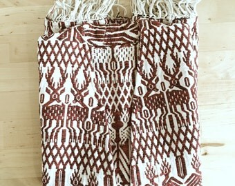 Vintage Red and White Woven Boho Vest with Fringe and Pockets