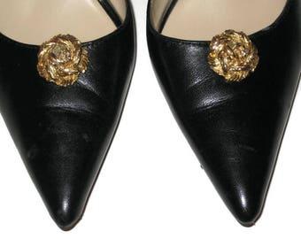60s Gold Shoe Clips Gold Metallic Gold Rosette Shoe Clips 1960s Shoe Jewelry Shoe Bow Shoe Accent Rose Shoe Clips Small Shoe Clips