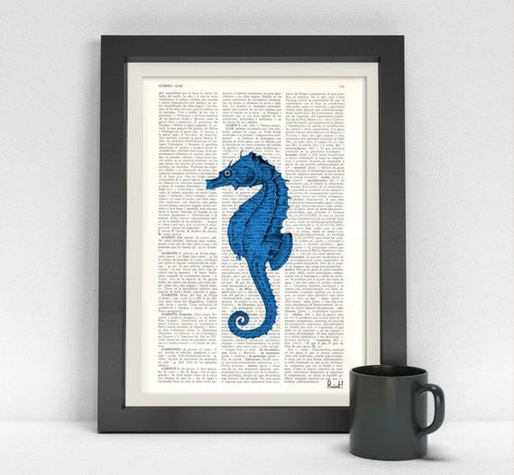 Spring Sale Blue Sea Horse Book Print- Sea horse on  Dictionary or Encyclopedia Page BPSL029