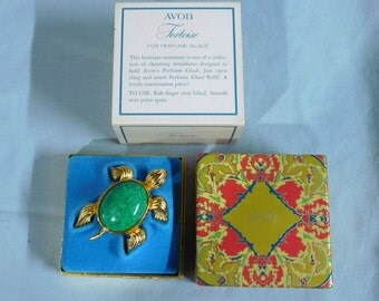 Vintage Avon Tortoise Sea Turtle For Perfume Glace, 1971 - MIB NOS ~~ Table Top Jewelry Collection, Fragrance Compact