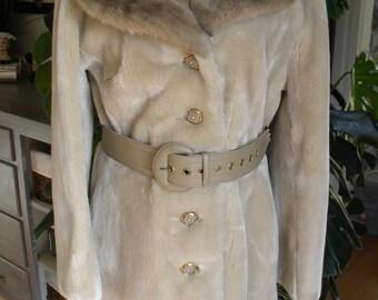 fabulous two tone faux fur stroller / coat / jacket