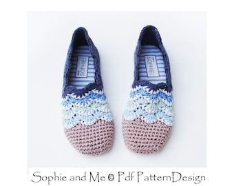 Beach Wave Slippers - Crochet Pattern - Espadrilles - Instant Download