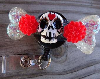 Sugar Skull Badge Reel swivel alligator badge reel clip