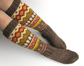 EU Size 36-37.5 - High Knee Hand Knitted Fair Isle Socks - 100% Natural Wool - Warm Autumn Winter Clothing