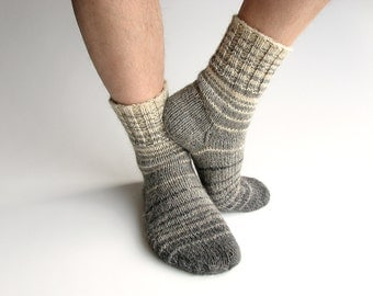 EU Size 40-42 - Hand Knitted Striped Socks - 100% Natural Wool - Winter Autumn Warm Clothing