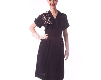 1940's Black Rayon Dress/ 40's Day Dress/ Pink Stripes and Bow Medium Forties