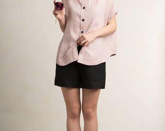 Linen shirt for woman, Loose fit women's shirt, Short sleeve shirt, Dusty rose womens top, Linen women's clothing by LHI