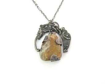 Studio Necklace. Handmade Brutalist Pendant, Brecciated Jasper Gemstone. Sterling Silver Articulated Pendant. Vintage Mid Century Jewelry