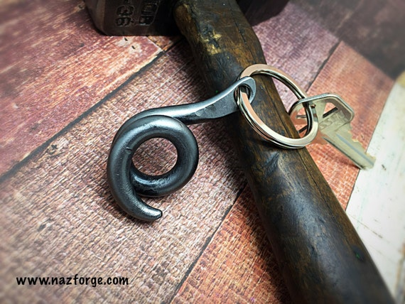 PIG TAIL KEYCHAIN - Personalized Option Available - Hand Forged and Signed by Naz - Gift for Him or Her