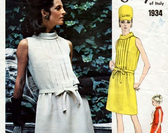 1960s Galitzine Dress Pattern Vogue Couturier Design 1934 Tucked Bodice with Blouson Back Summer Mini Dress Vintage Sewing Pattern Bust 36