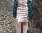 Matte Champagne Pencil Sequin Skirt - Stretchy, beautiful knee length skirt (S,M,L,XL) Made in LA!