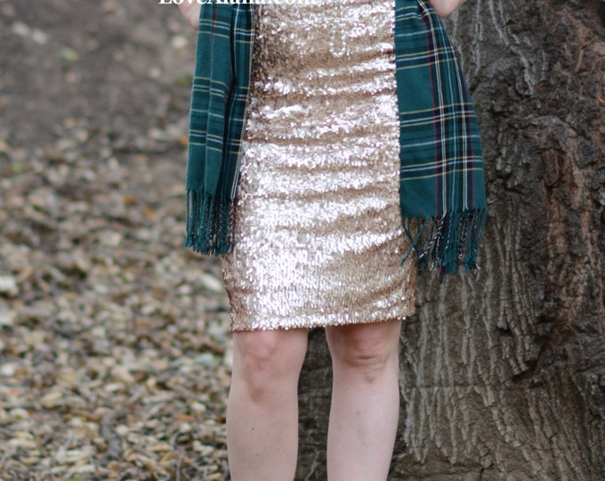SALE - Matte Champagne Pencil Sequin Skirt - Stretchy, beautiful knee length skirt (S,M,L,XL) Made in LA! Ships asap!