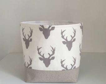 Storage Basket - Modern Buck Heads in Grey - Baby Nursery Storage - Fabric Basket
