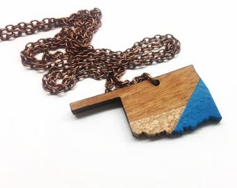 Oklahoma Tri-Tone Handpainted Wood Copper and Teal Wood State Necklace - Wooden Necklace - OK State Jewelry with Copper Tone Chain