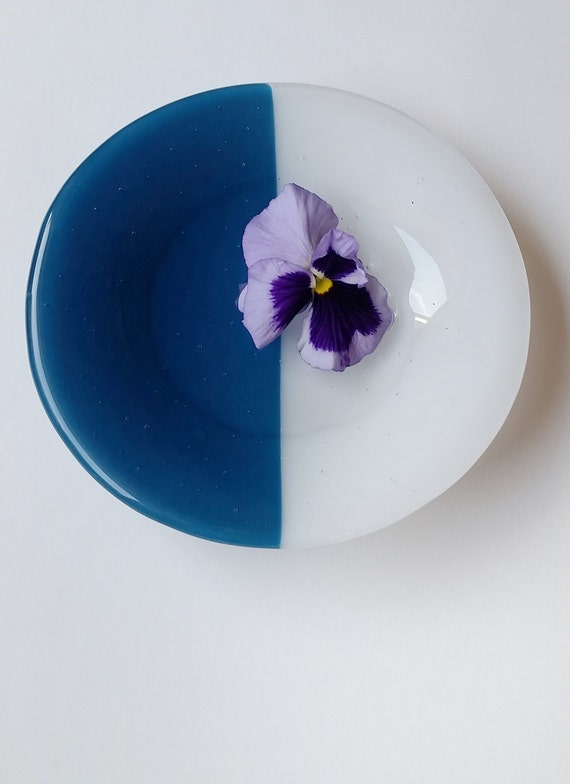 Blue and White Glass Dish