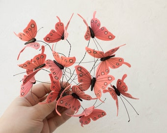 Pink Butterfly Comb Wholesale Hair Decor Accessory Decoration Decorative Butterflies Hair Piece Headpiece Bridal Wedding Birthday Valentine