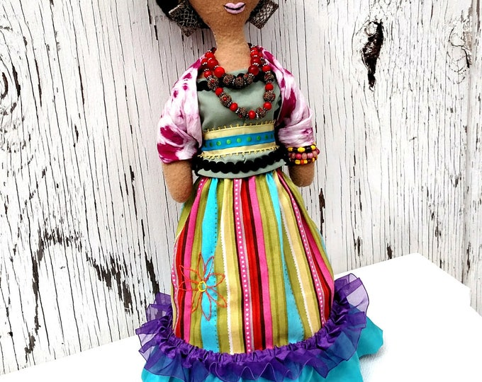 Hand Sewn Frida Kahlo Fabric Doll - One of a Kind