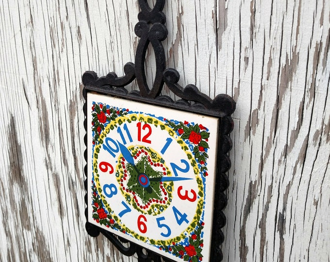 Vintage 1950's Colorful Clock Face Ceramic Trivet with Iron Handle