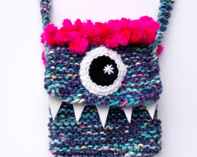 Silly Cyclops Hand Knit Bag - Purple and Pink