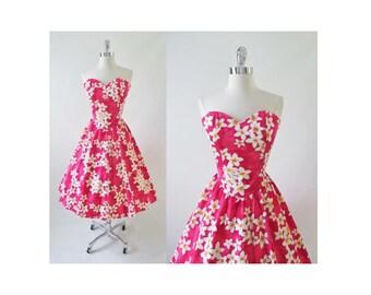 Vintage 80's / 50's Look Pink Plumera Full Skirt Hawaiian Luau Dress M
