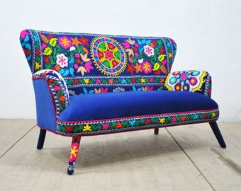 SPRING SALE 10% OFF: Suzani 2 seater sofa - blue love