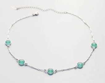 SHE'S A VISION CHOKER • Aqua Chalcedony Necklace