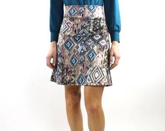 A line skirt with ethnic ikat print, high waisted skirt, Elastic Waist Skirt, printed skirt, pull on skirt knit skirt mini skirt on sale