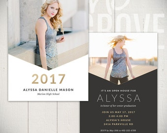 Graduation Announcement Template: Blaze Card A - 5x7 Senior Card Template