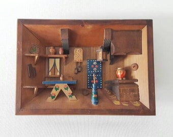 Vintage Wooden Miniature Rustic Kitchen Frame