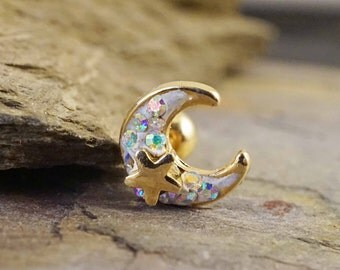 14kt Gold or Rose Gold Moon Star Tragus Earring Cartilage Earring