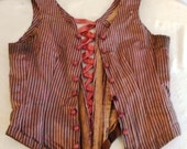 1880s Antique Corset Victorian Striped Bodice Lace Up Tan and Copper Antique Waist