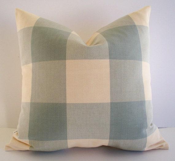Blue Check Pillow Cover Spa Ballard Designs