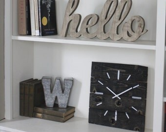 Urban.  Modern Wall Clock. Pallet Wood Clock in black Onyx Stain. Hip.  Customizable.  Wedding.  Housewarming. Gift.